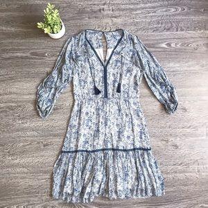 {Elie Tahari} Boho Silk Cold Shoulder Dress